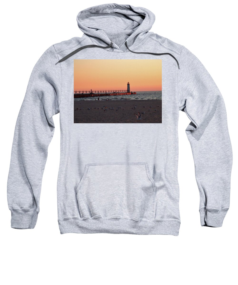 Sunset Sweatshirt featuring the photograph Sunset At The Lighthouse by Susan Wyman