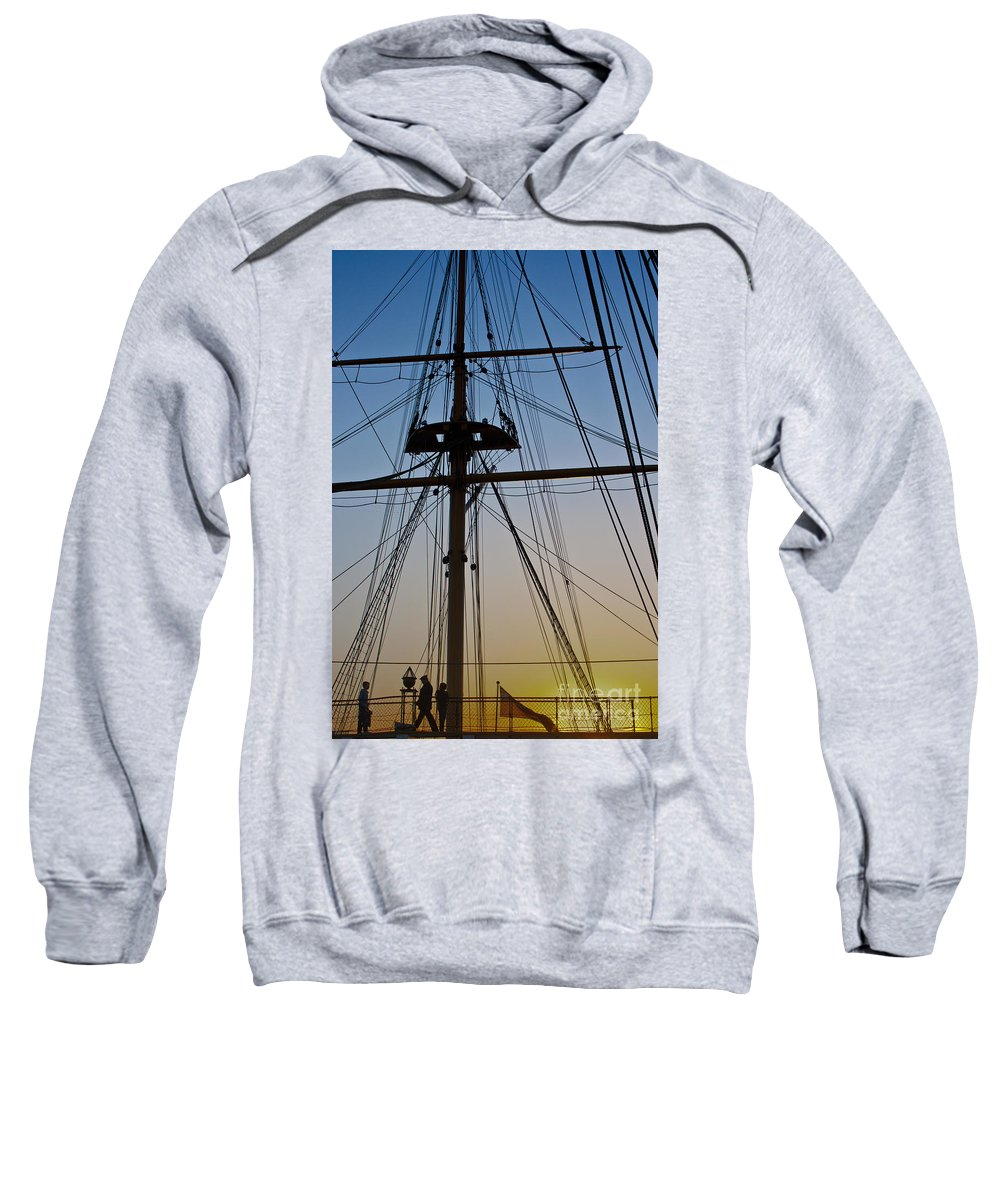 Hms Warrior Sweatshirt featuring the photograph Sunset On Hms Warrior by Terri Waters