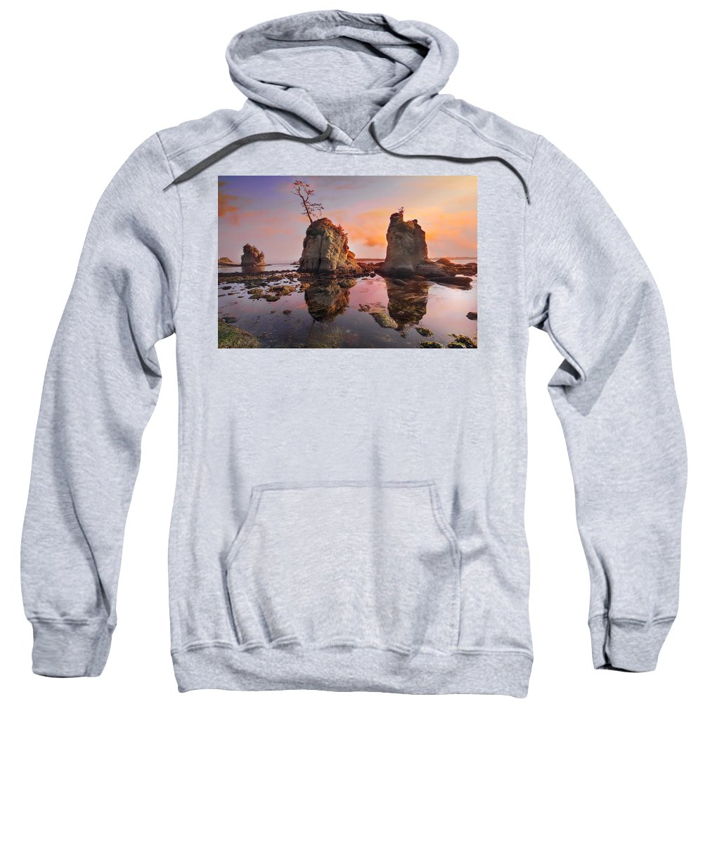 Sunset Sweatshirt featuring the photograph Sunset Over Pig And Sow Inlet At Oregon Coast by Jit Lim