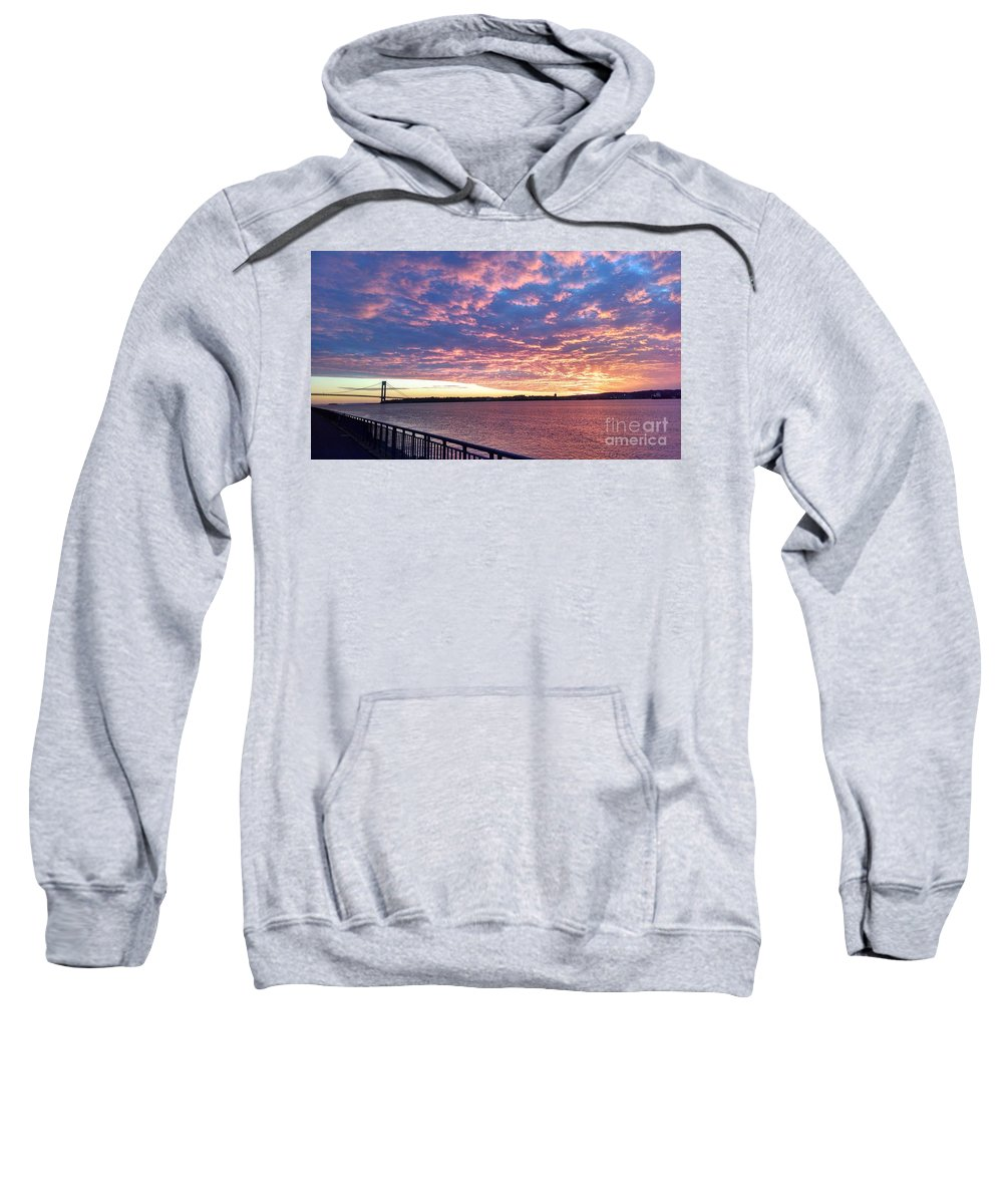 Sunset Over Verrazano Bridge And Narrows Waterway Sweatshirt featuring the photograph Sunset Over Verrazano Bridge And Narrows Waterway by John Telfer