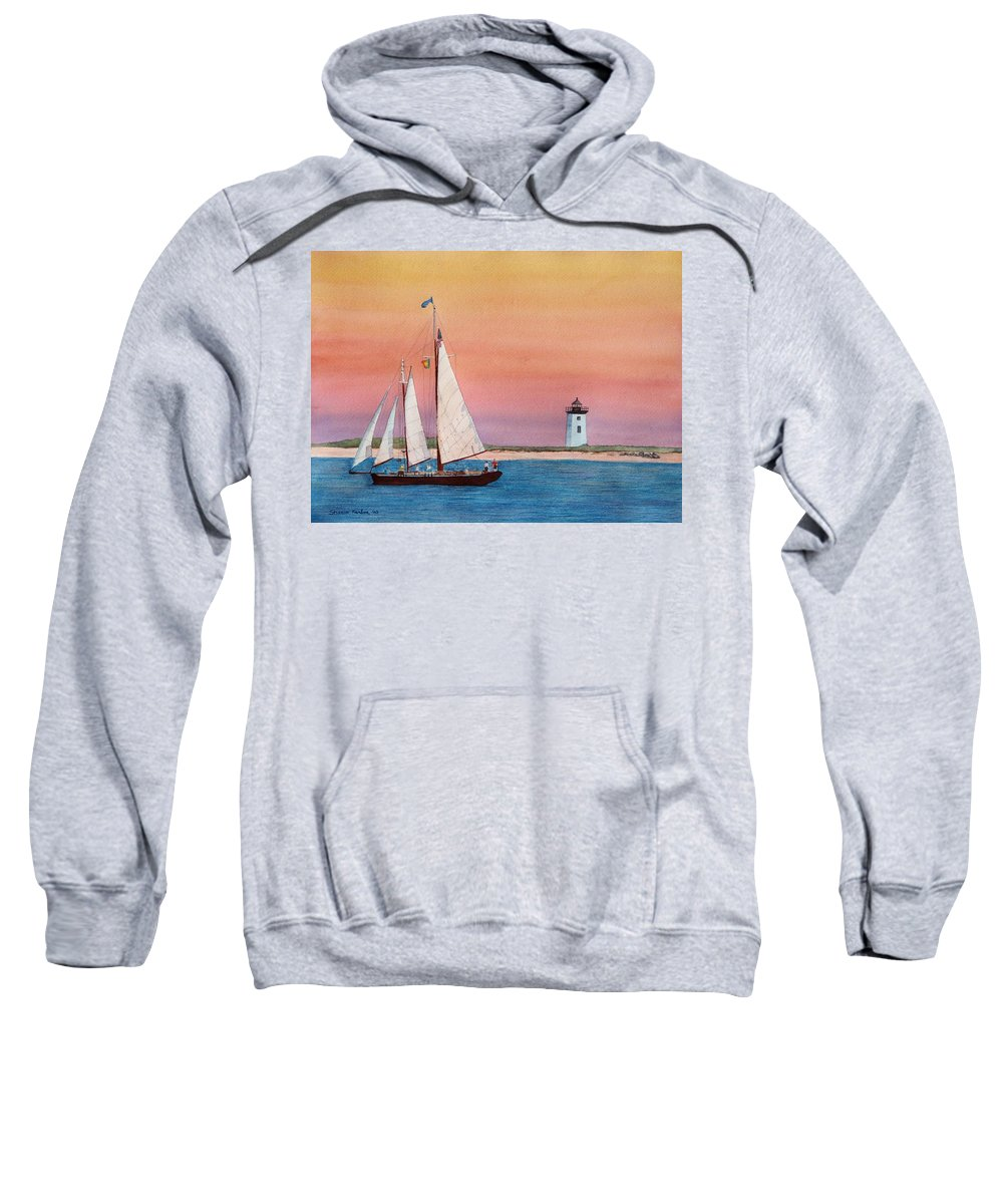 Sailboat Sweatshirt featuring the painting Sunset Sail by Sharon Farber
