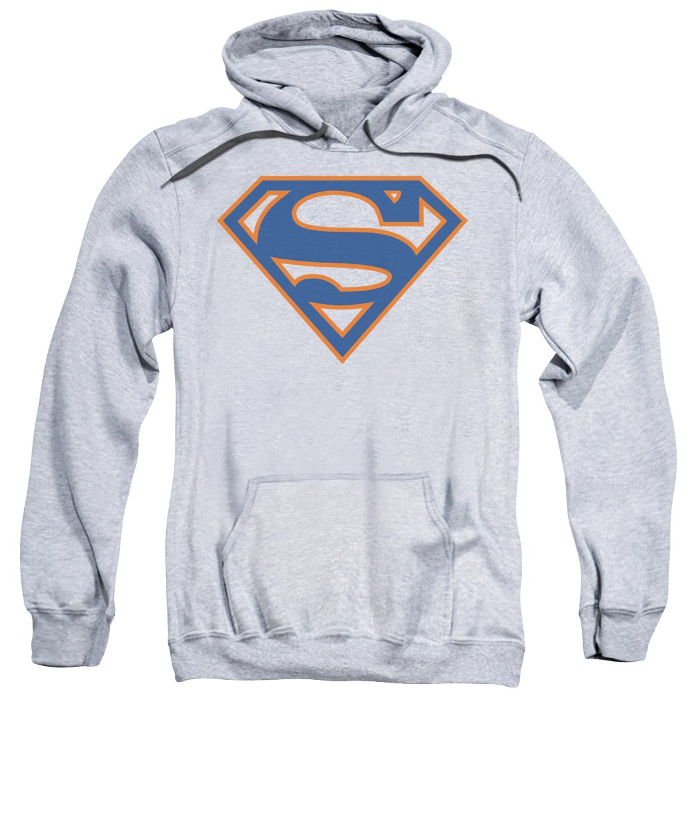 Superman Sweatshirt featuring the digital art Superman - Blue And Orange Shield by Brand A