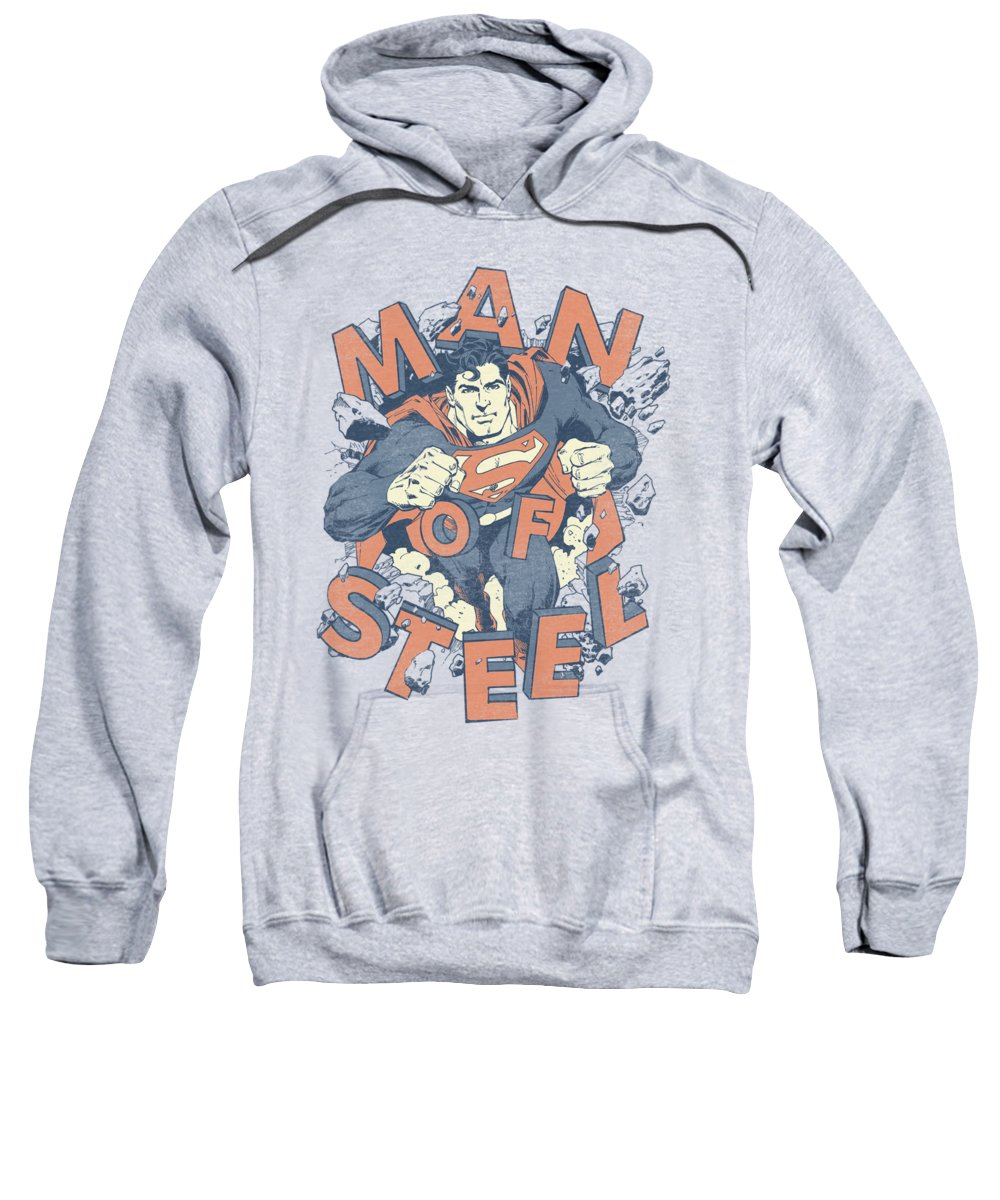 Superman Sweatshirt featuring the digital art Superman - Coming Through by Brand A