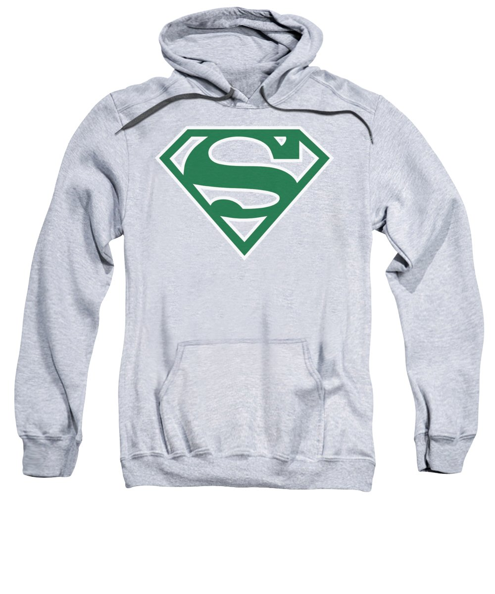 Superman Sweatshirt featuring the digital art Superman - Green And White Shield by Brand A