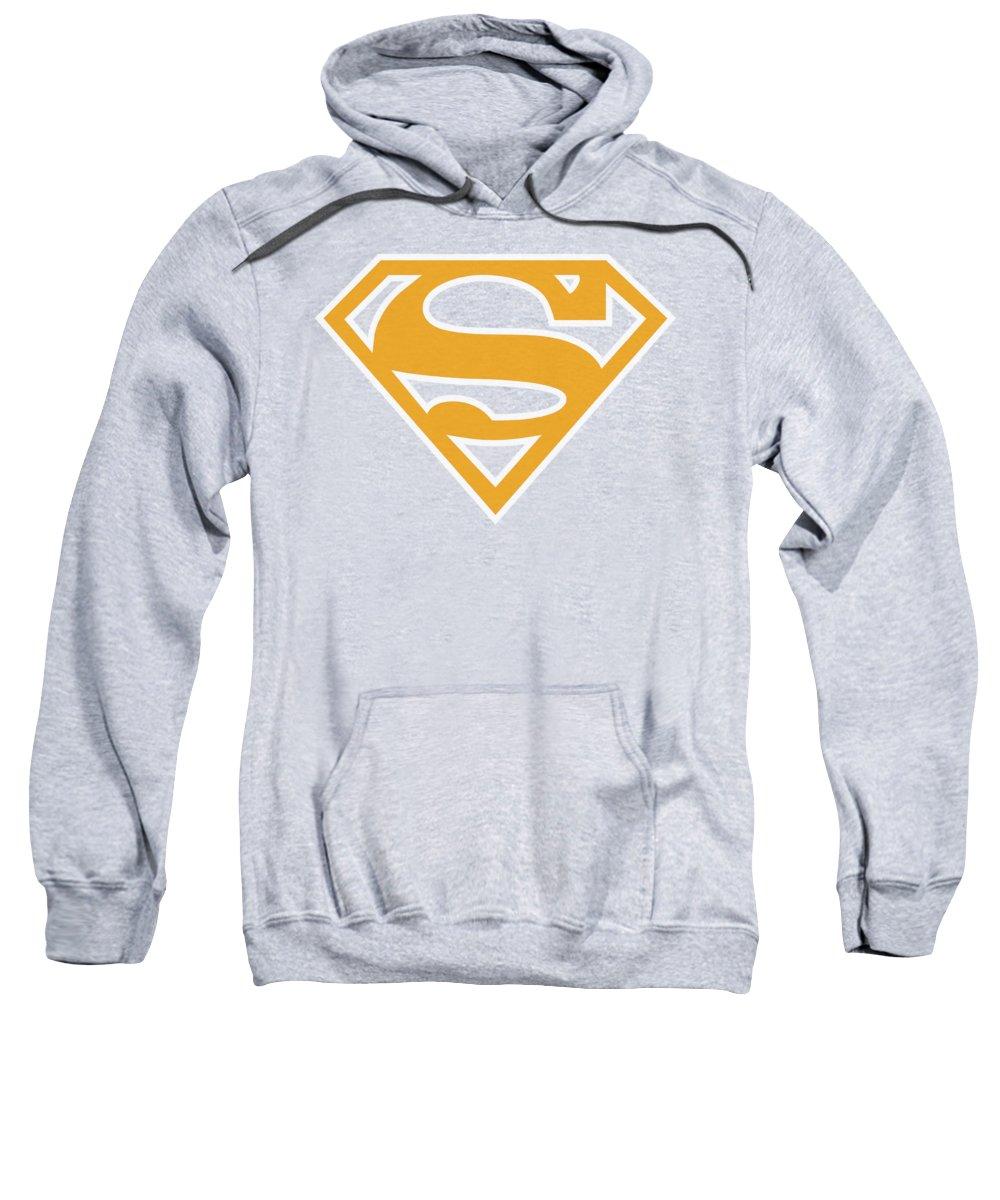 Superman Sweatshirt featuring the digital art Superman - Lt Orange And White Shield by Brand A