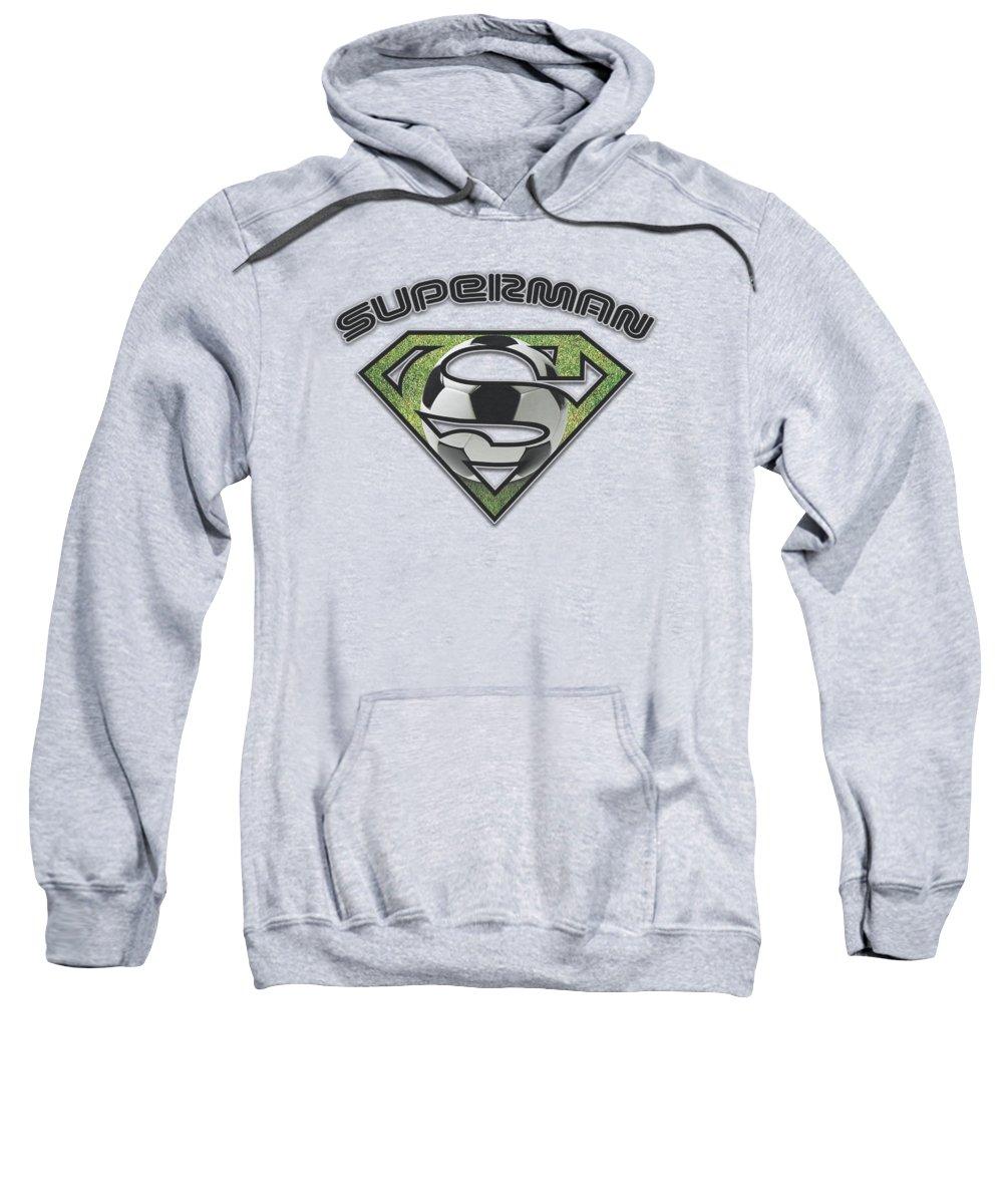Superman Sweatshirt featuring the digital art Superman - Soccer Shield by Brand A