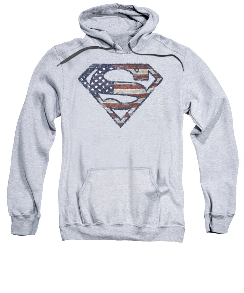 Superman Sweatshirt featuring the digital art Superman - Wartorn Flag by Brand A