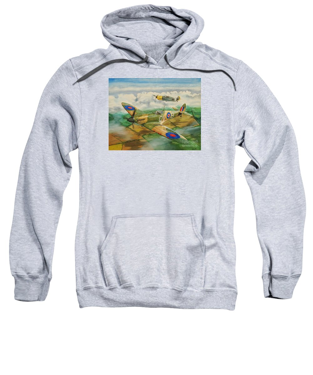 Sky Sweatshirt featuring the painting Can't We Just Be Friends? by Oleg Konin