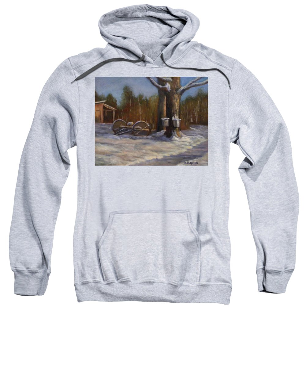 Sap Buckets Sweatshirt featuring the painting Sure SIgns of Spring by Sharon E Allen
