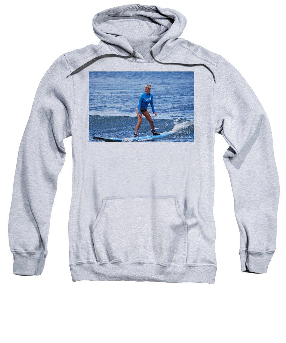 Surfer Sweatshirt featuring the photograph Surfer Girl by DejaVu Designs