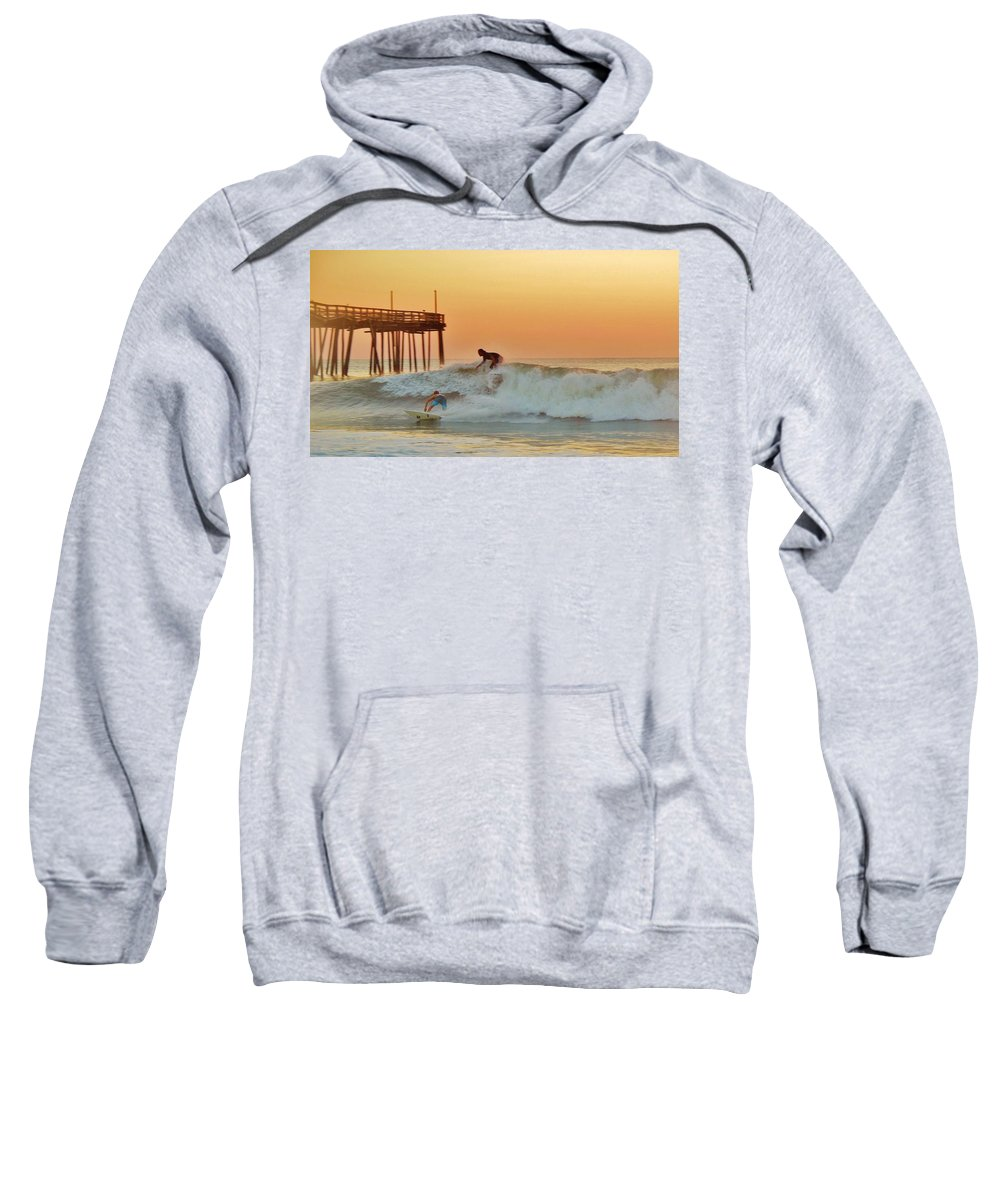 Mark Lemmon Cape Hatteras Nc The Outer Banks Photographer Subjects From Sunrise Sweatshirt featuring the photograph Surfer Sunrise 9 10/2 by Mark Lemmon