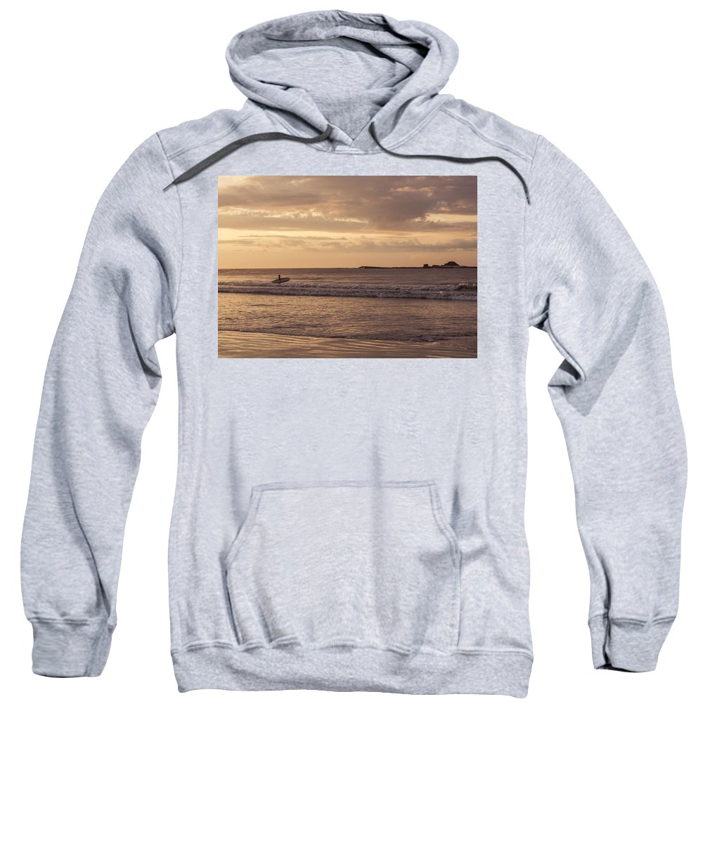 Surfing Sweatshirt featuring the photograph Surfing At Dusk by Bailey Barry