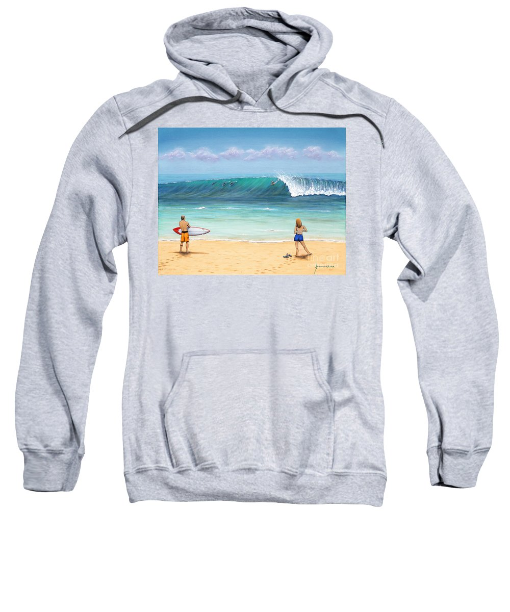 Hawaii Sweatshirt featuring the painting Surfing Hawaii by Jerome Stumphauzer