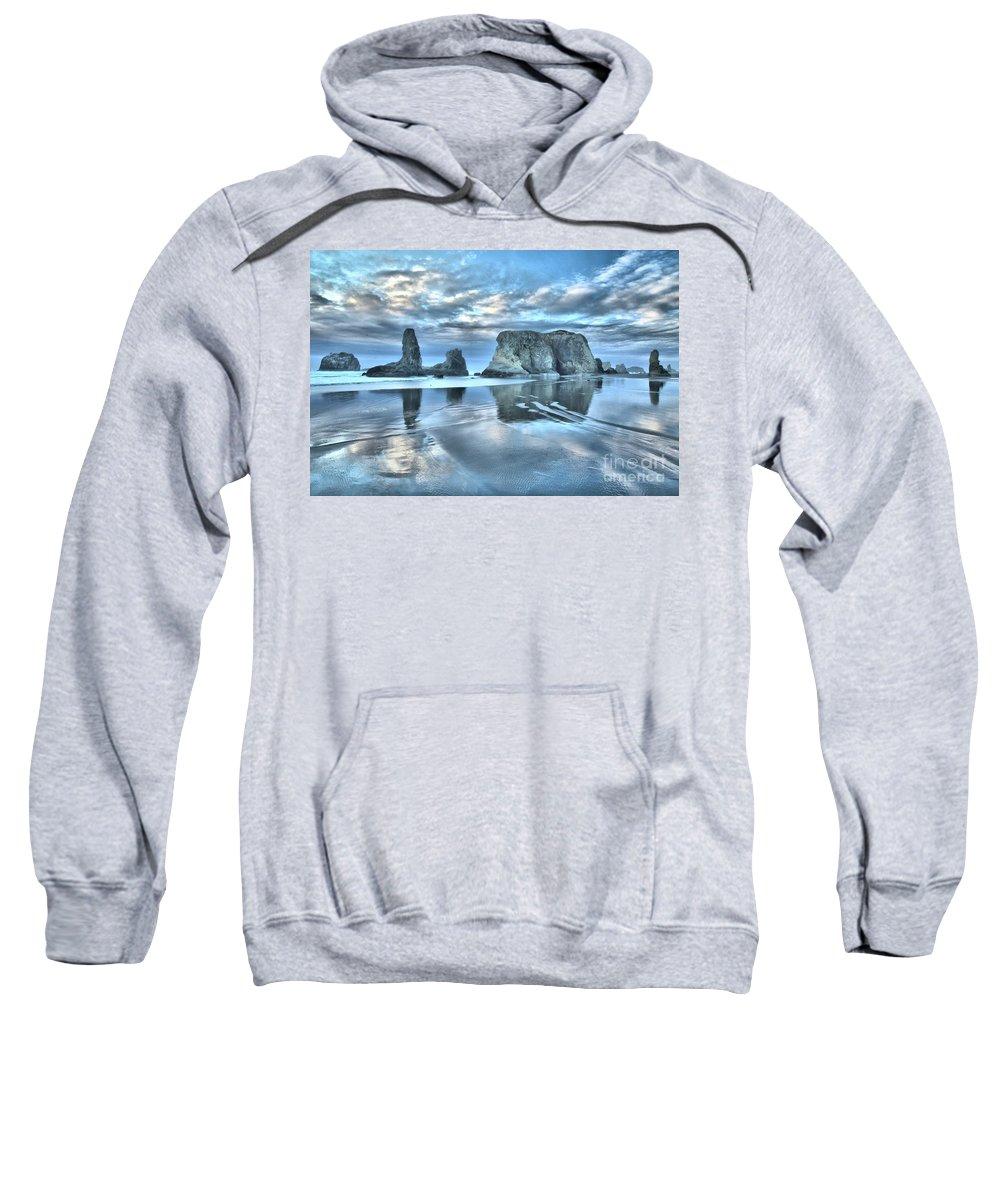 Bandon Beach Sweatshirt featuring the photograph Surreal Beach Swirls by Adam Jewell