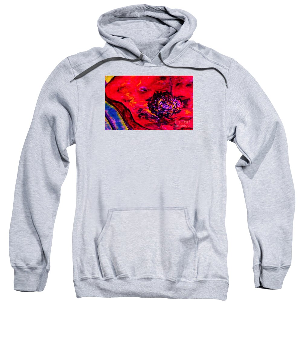Eloise Sweatshirt featuring the painting Surreal Poppy . . . Woman Breaks Out by Eloise Schneider Mote