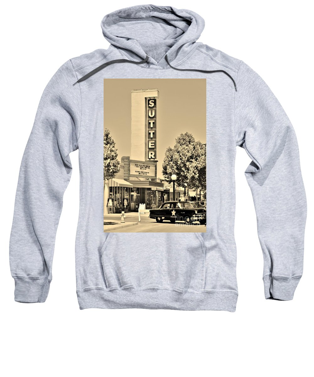 Sepia Sweatshirt featuring the photograph Sutter Theater by Long Love Photography
