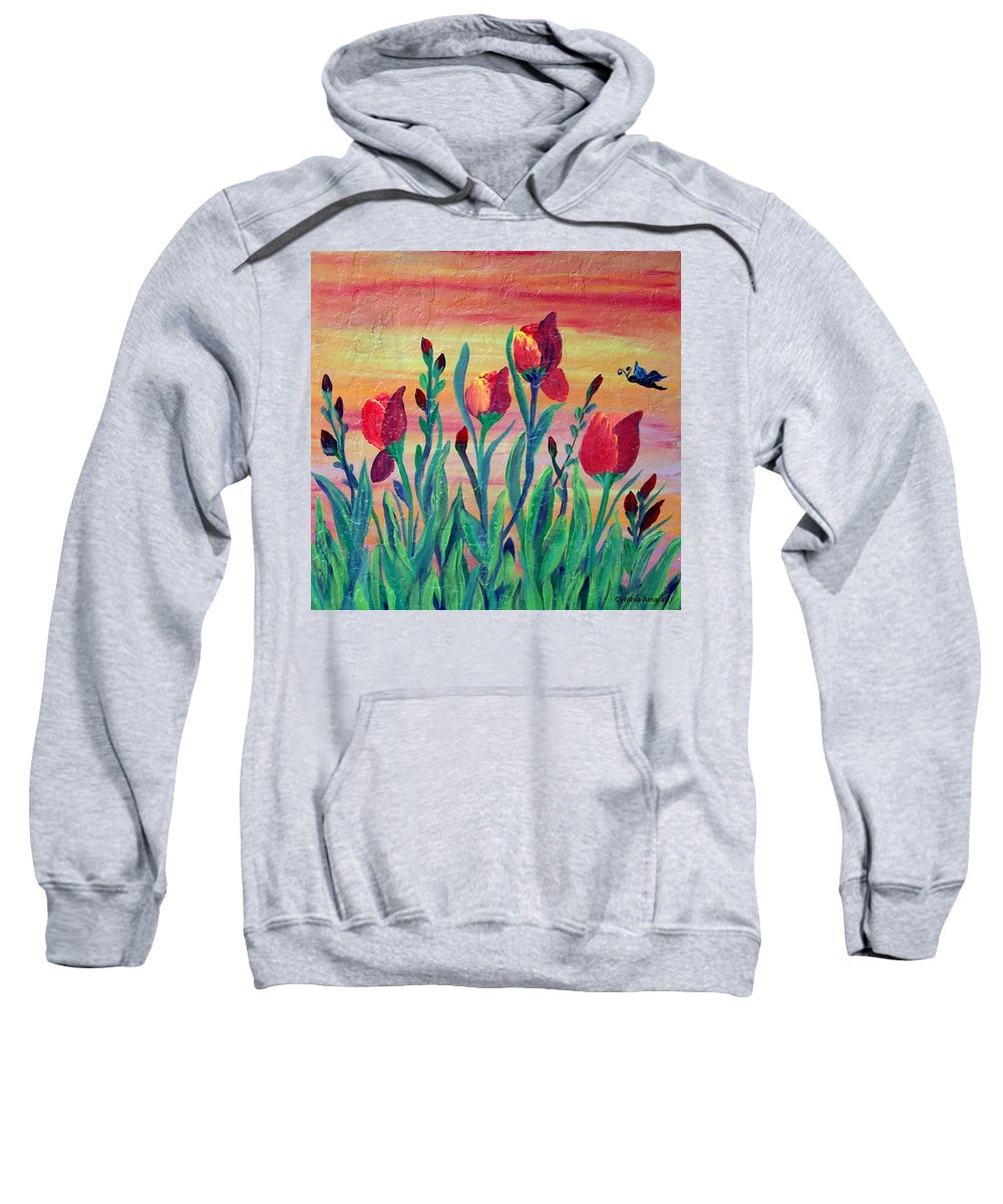 Mosaic Sweatshirt featuring the painting Swaying by Cynthia Amaral