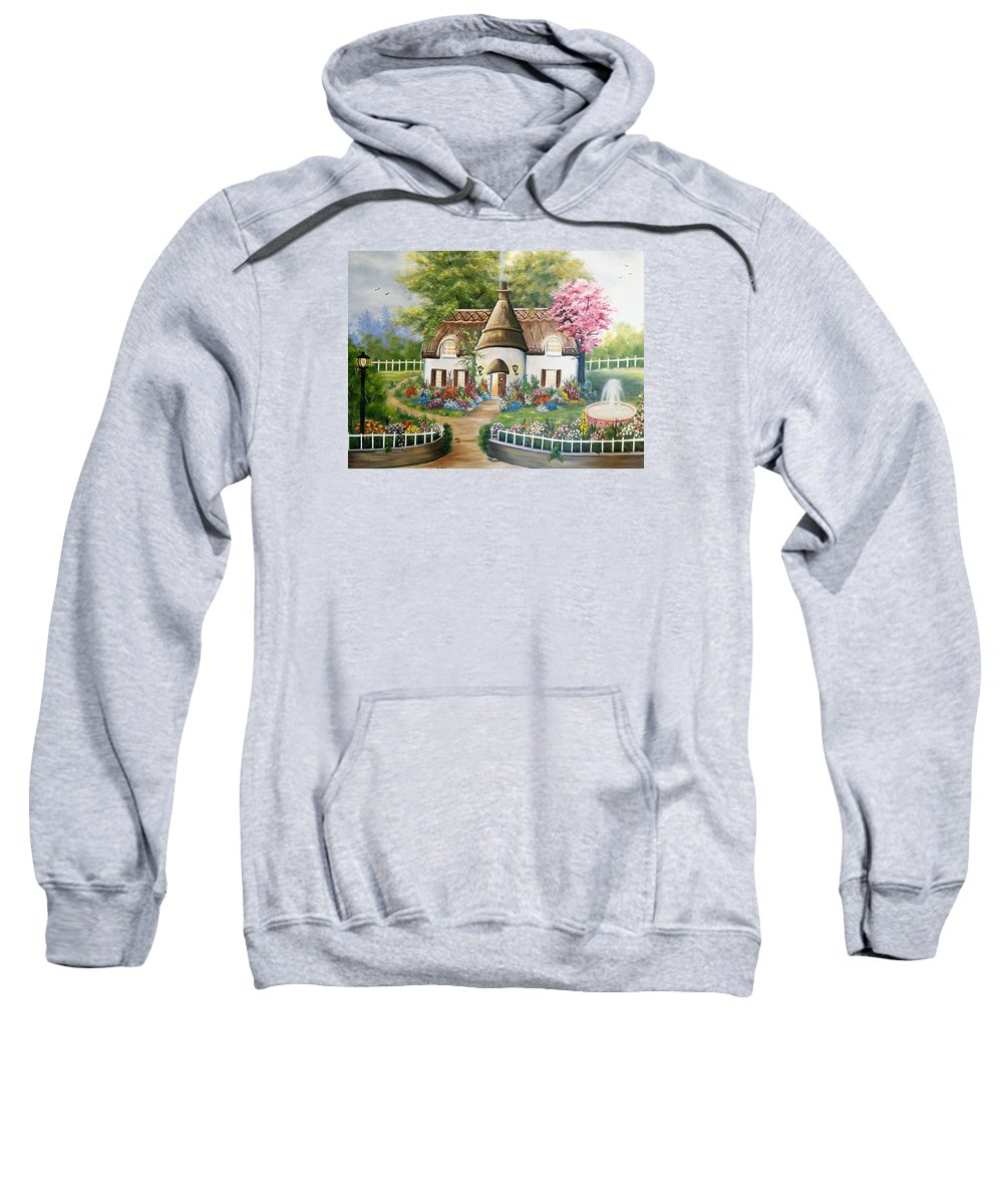 Cottages Sweatshirt featuring the painting Sweet Home by Edith Hernandez Paintings