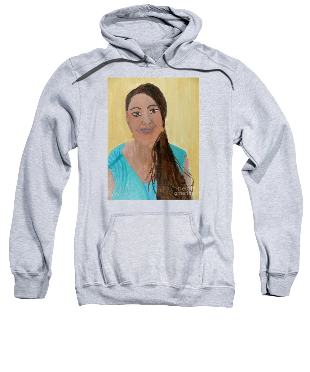 Portrait Sweatshirt featuring the painting Sweet Lady by Pamela Meredith