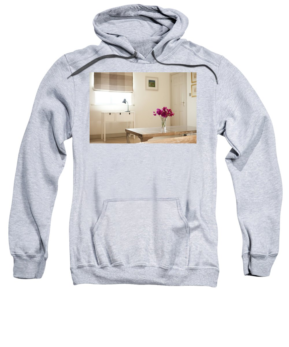 Area Sweatshirt featuring the photograph Sweetpea Table by Anne Gilbert