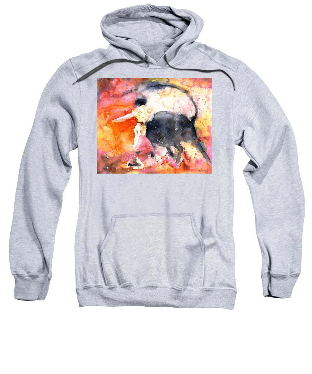 Watercolour Sweatshirt featuring the painting Swinging Yellow And Pink by Miki De Goodaboom