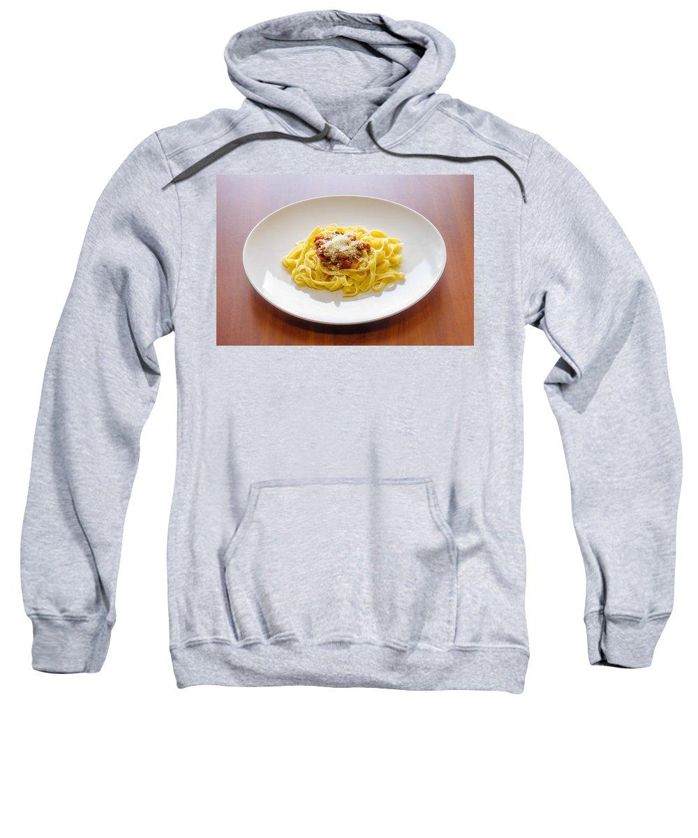 Cuisine Sweatshirt featuring the photograph Tagliatelle Bolognese Sauce With Parmesan by Alain De Maximy