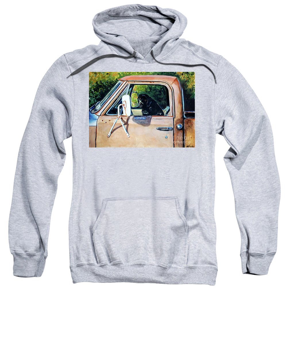Black Labrador Retriever Sweatshirt featuring the painting Take Me With You by Molly Poole