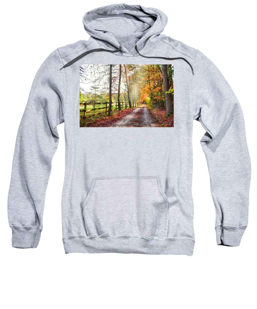 Appalachia Sweatshirt featuring the photograph Take The Back Roads by Debra and Dave Vanderlaan