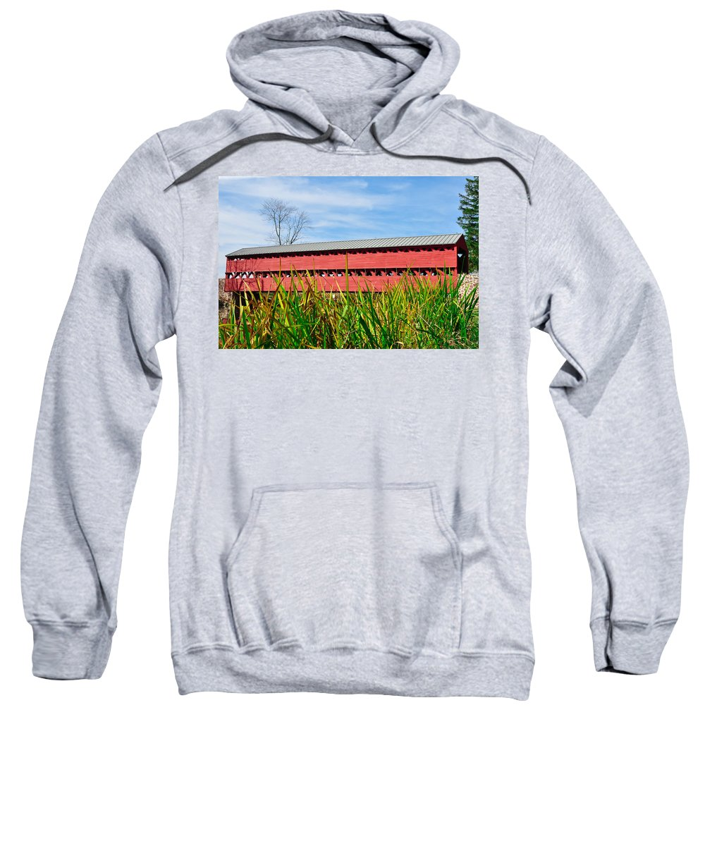 Tall Sweatshirt featuring the photograph Tall Grass And Sachs Covered Bridge by Bill Cannon