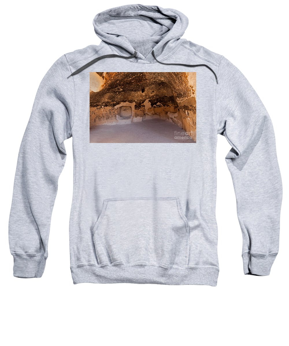 Afternoon Sweatshirt featuring the photograph Talus Housefront Room Bandelier National Monument by Fred Stearns