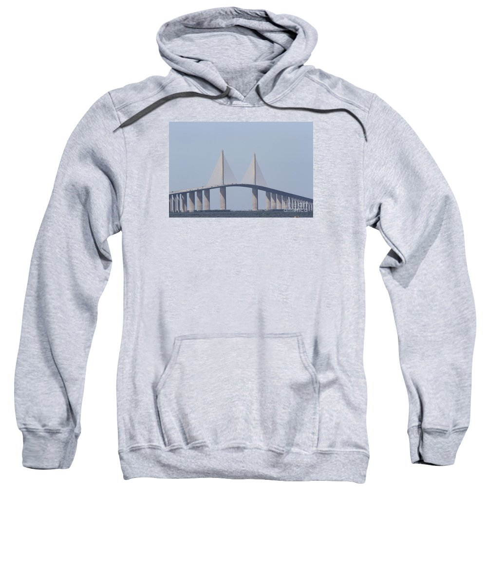Bridge Sweatshirt featuring the photograph Tampa Sky Way Bridge by Christiane Schulze Art And Photography