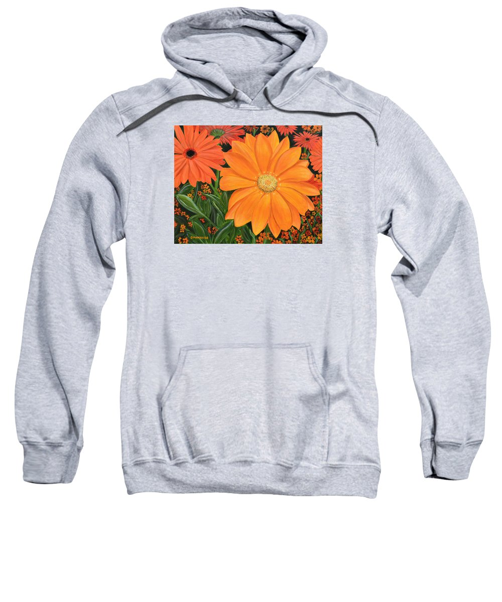 Flor Sweatshirt featuring the painting Tangerine Punch by Donna Manaraze
