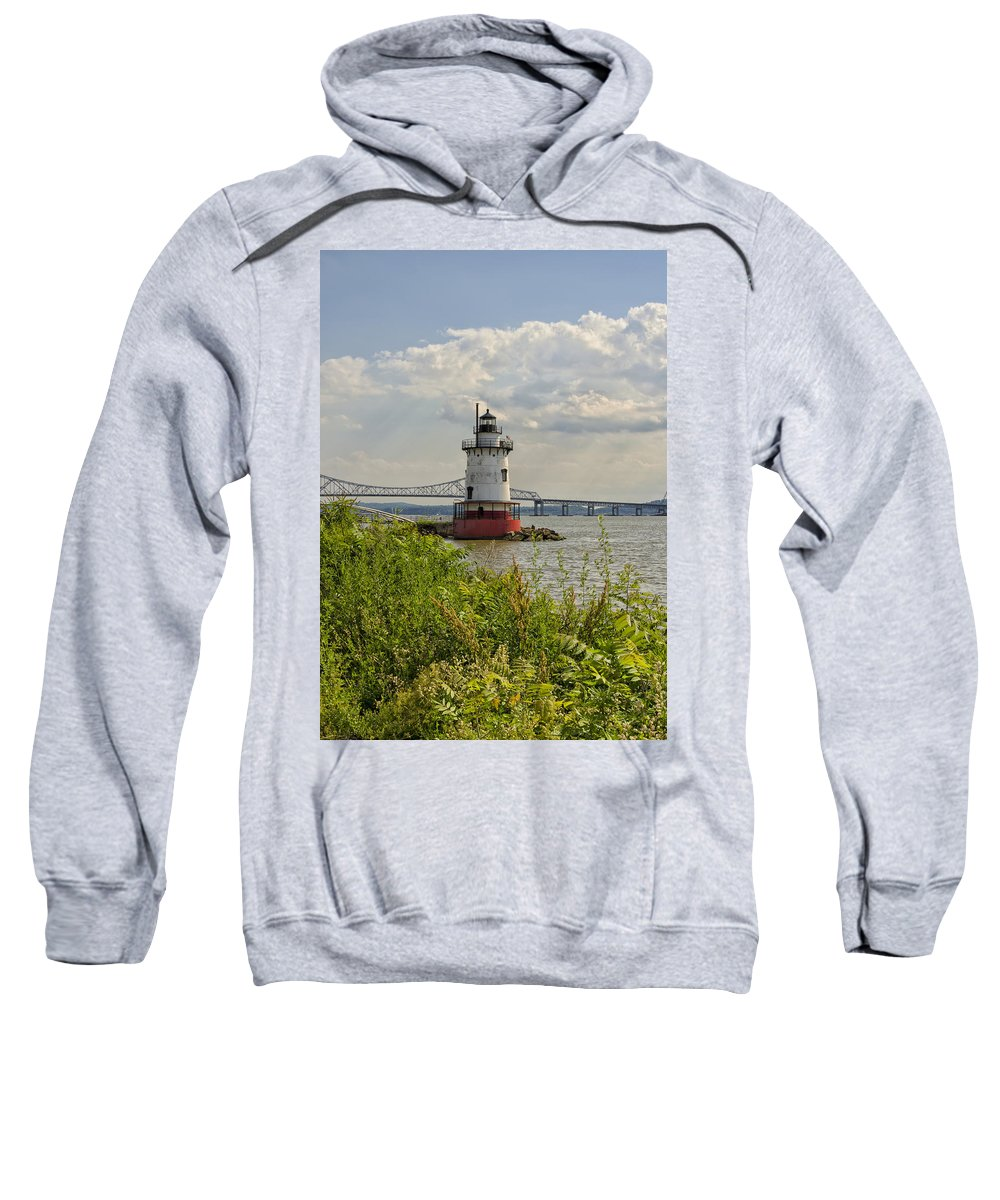 Tarrytown Sweatshirt featuring the photograph Tarrytown Lighthouse And The Tappan Zee Bridge by Marianne Campolongo