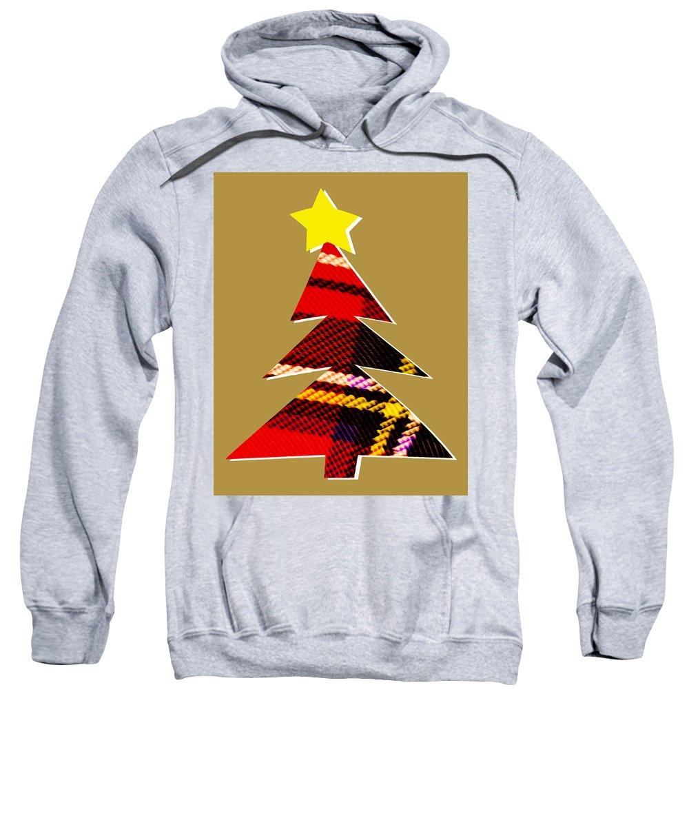 Christmas Sweatshirt featuring the digital art Tartan Christmas Tree On Gold by Hal Halli