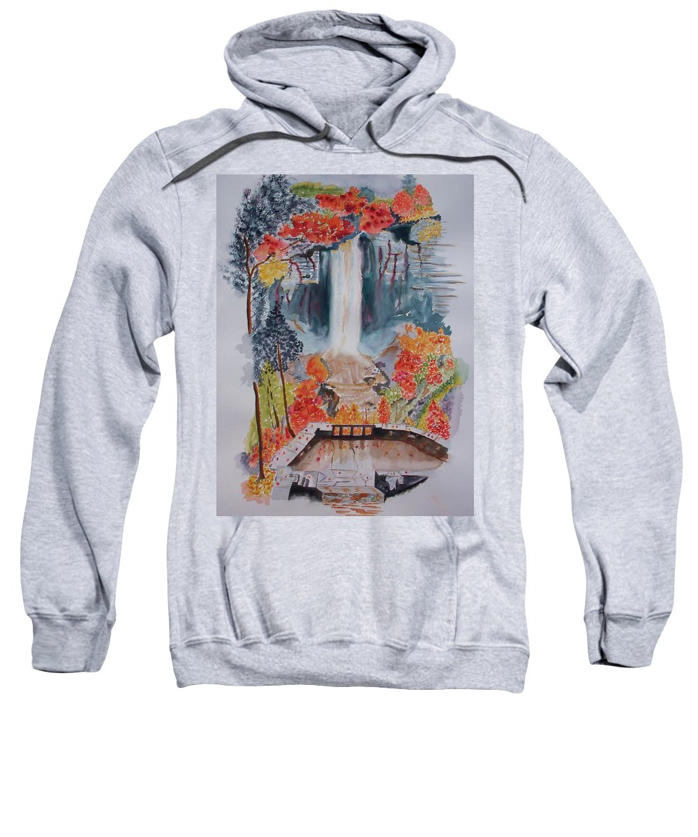 Taughannock Falls Sweatshirt featuring the painting Taughannock Falls Ny In Autumn by Warren Thompson