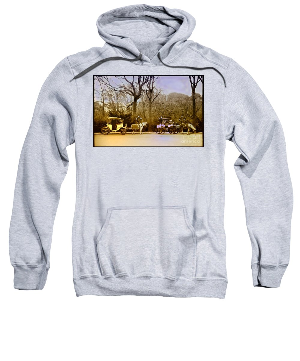 Hansom Sweatshirt featuring the photograph Tavern On The Green by Madeline Ellis