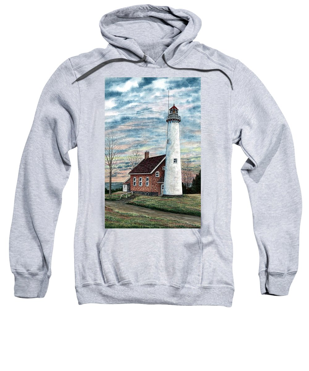 Tawas Point Light Sweatshirt featuring the painting Tawas Point Light by Steven Schultz