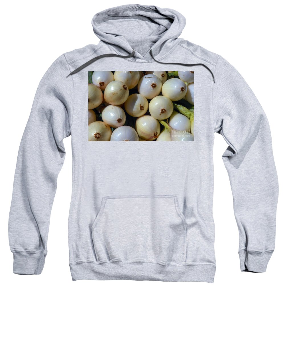 Ithaca New York Market Markets Fresh Onions Onion Food Foods Vegetable Vegetables Still Life Sweatshirt featuring the photograph Tear Jerkers by Bob Phillips