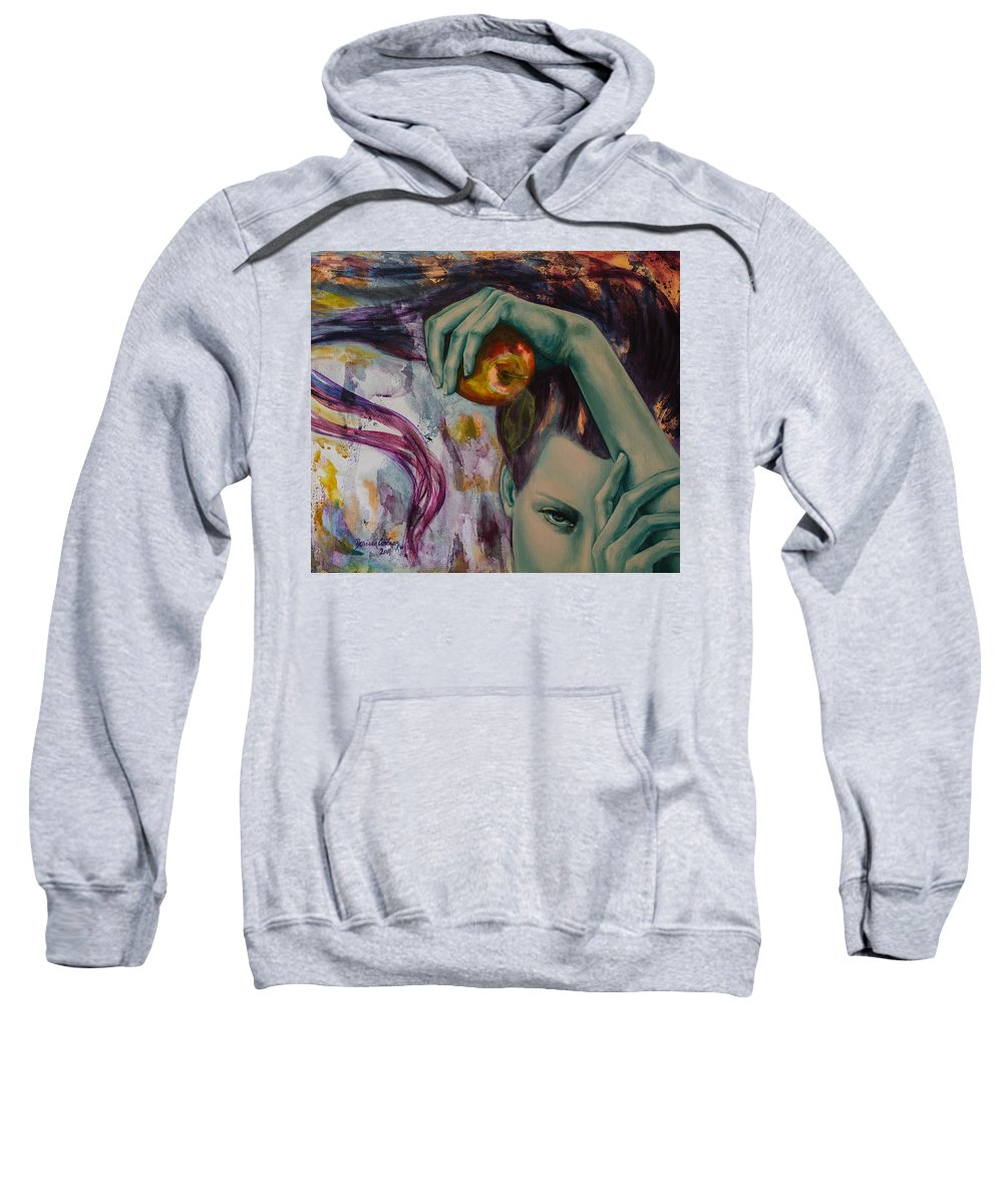 Art Sweatshirt featuring the painting Temptation by Dorina Costras