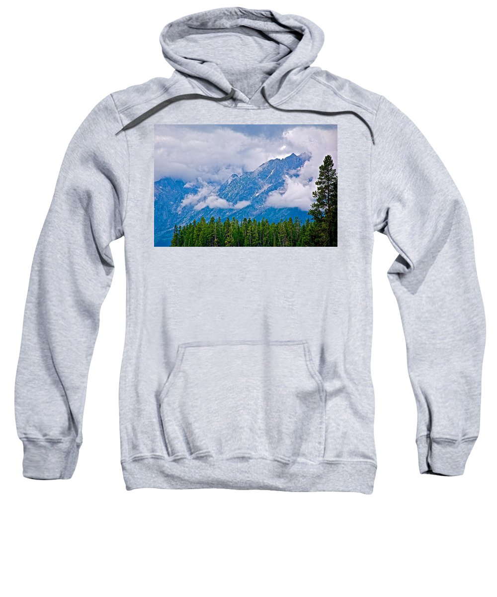 Teton Peaks Through Clouds In Grand Teton National Park Sweatshirt featuring the photograph Teton Peaks Through Clouds In Grand Teton National Park-wyoming  by Ruth Hager