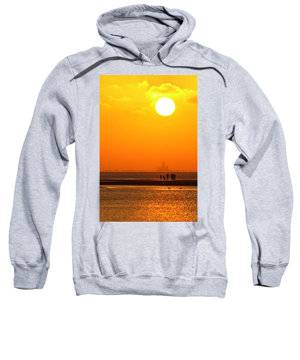Texas City Sweatshirt featuring the photograph Texas City Sunset 2am-12561 by Andrew McInnes