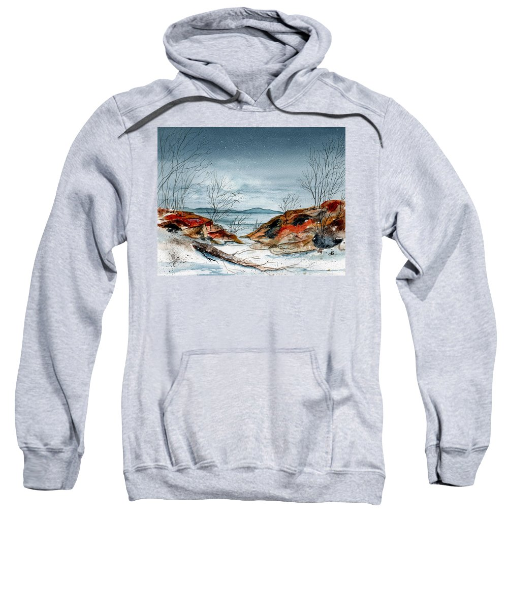 Watercolor Sweatshirt featuring the painting The Approaching Evening by Brenda Owen