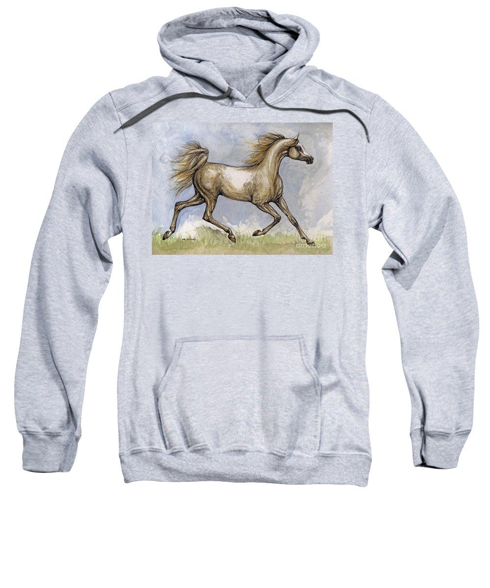 Mare Sweatshirt featuring the painting The Arabian Mare Running by Angel Ciesniarska