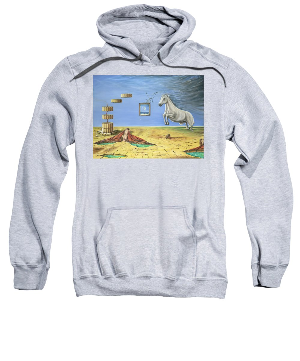 Horse Sweatshirt featuring the painting The Awakening by Teresa Gostanza