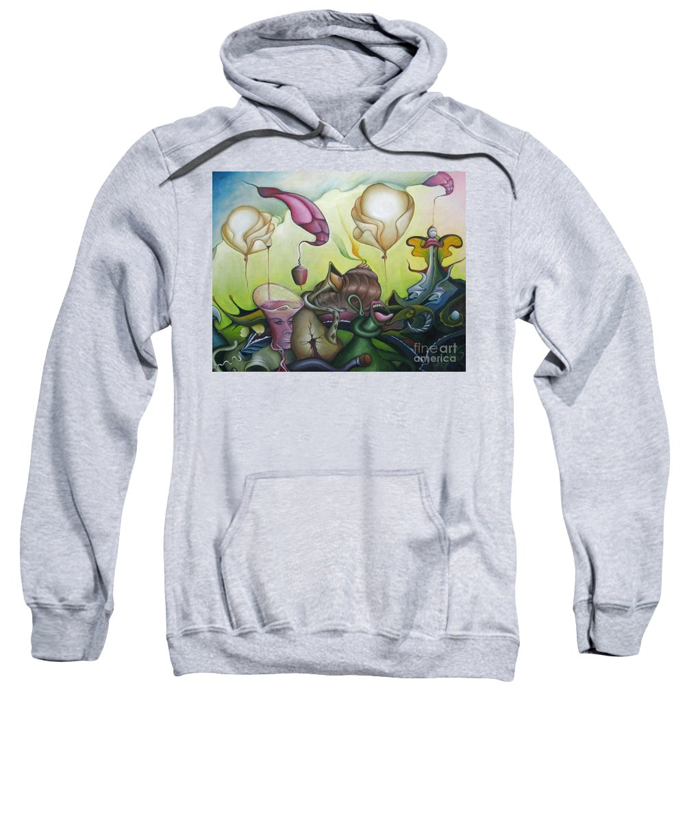 Landscape Sweatshirt featuring the painting The Balloons by Bob Ivens