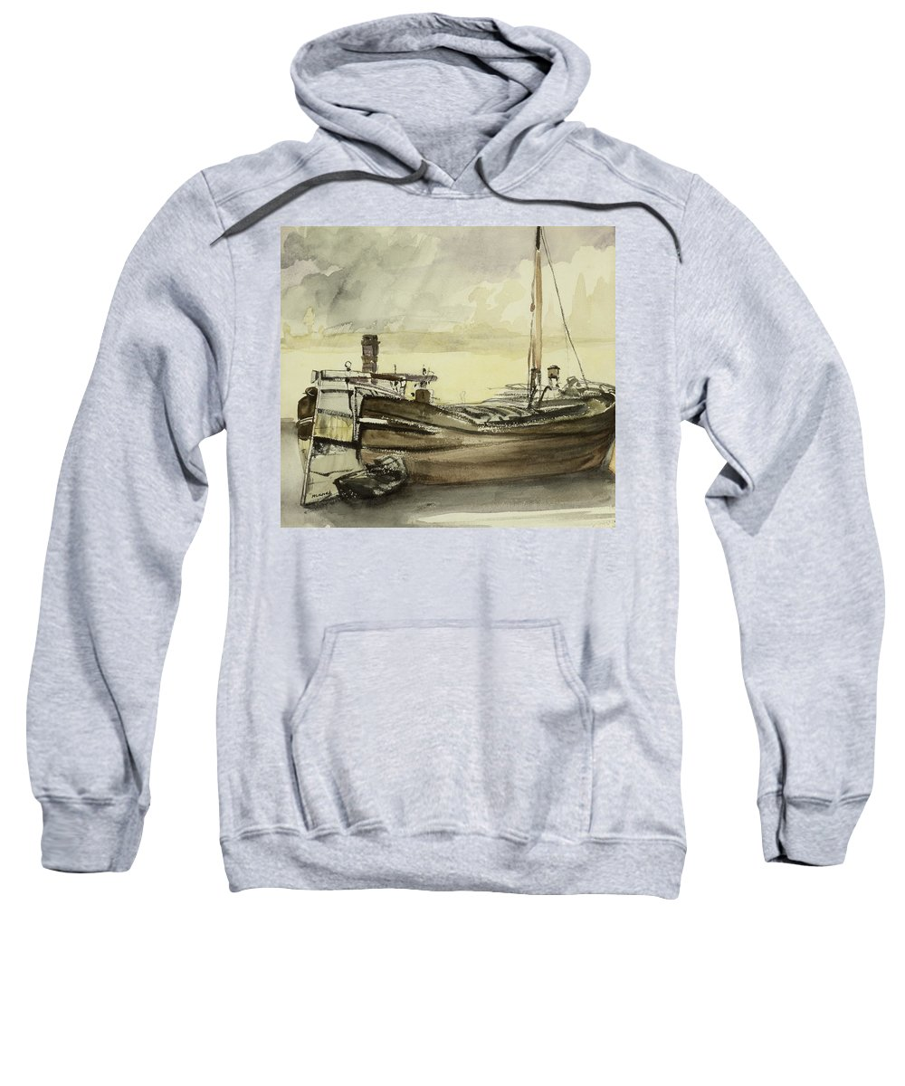 La Peniche; Boat; Ship; Fishing Vessel Sweatshirt featuring the painting The Barge by Edouard Manet