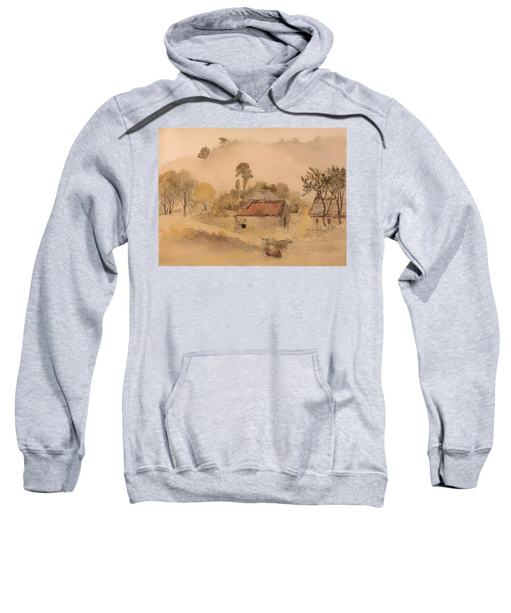Painting Sweatshirt featuring the painting The Barns by Mountain Dreams