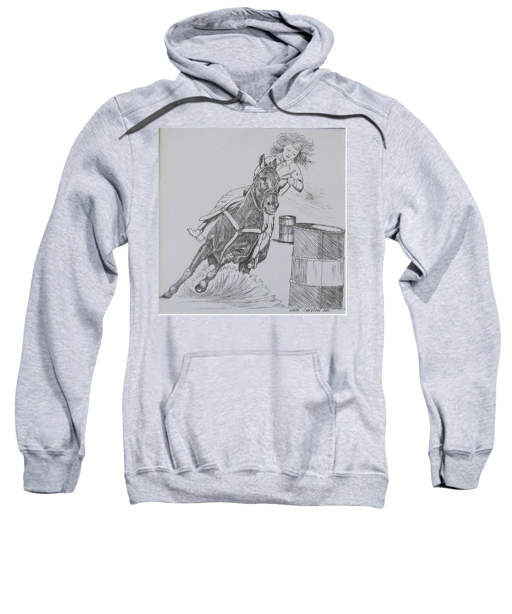 Black And Grey Black Poster Sweatshirt featuring the drawing The Barrel Racer by Wanda Dansereau