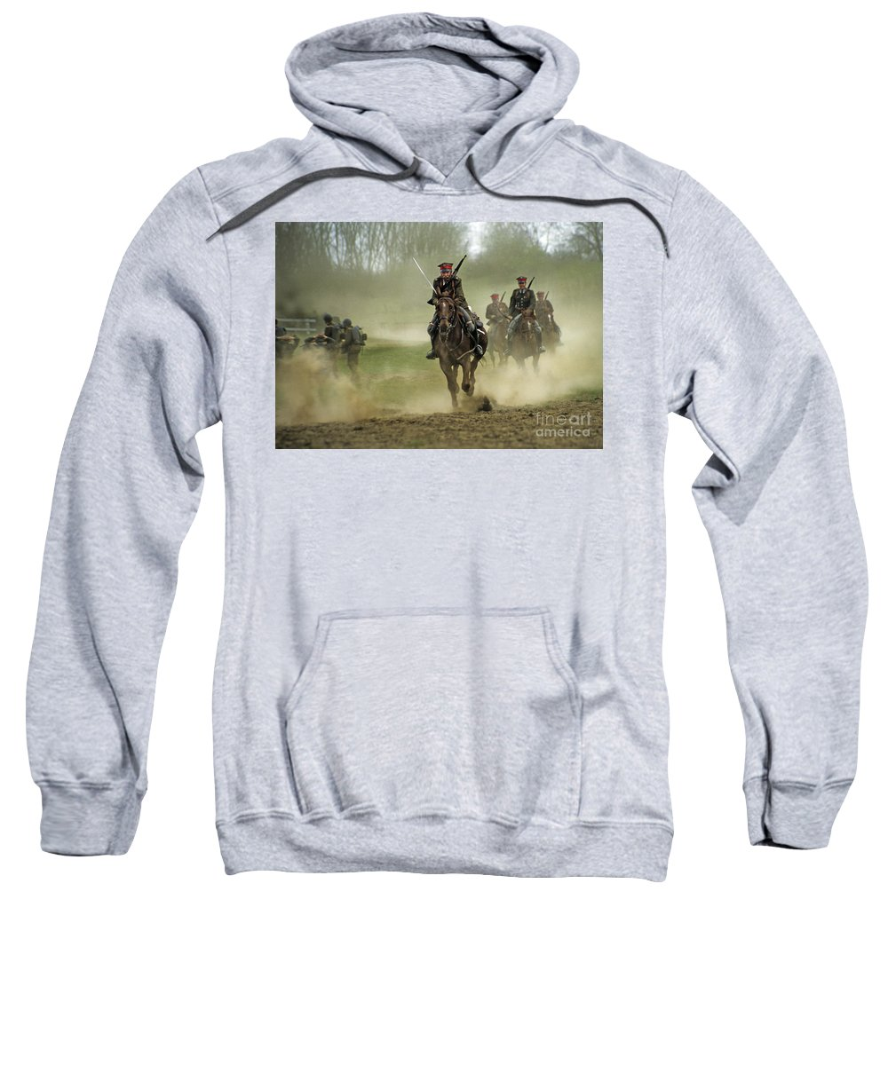 Cavalry Sweatshirt featuring the photograph The Battle by Angel Ciesniarska