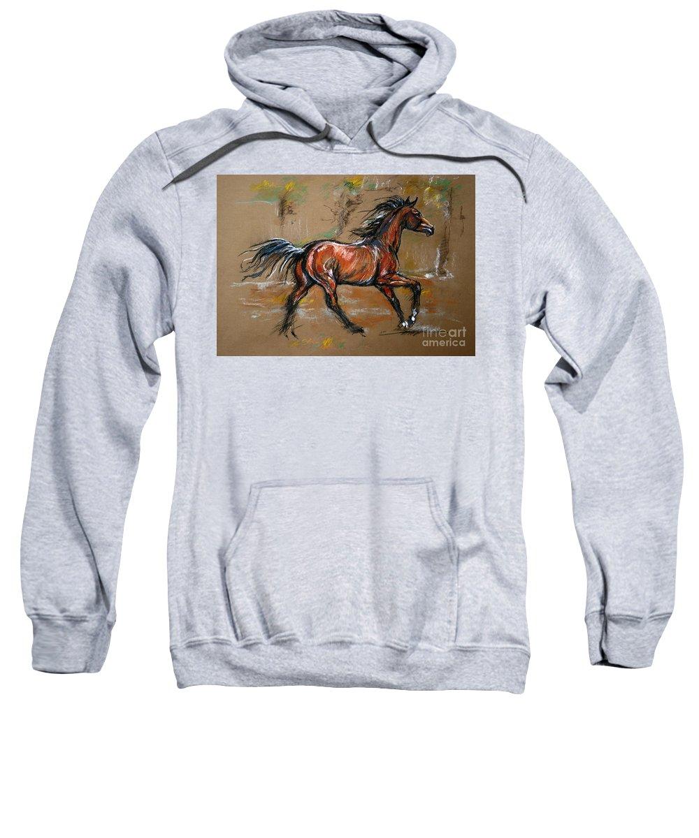 Horse Sweatshirt featuring the drawing The Bay Horse by Angel Ciesniarska